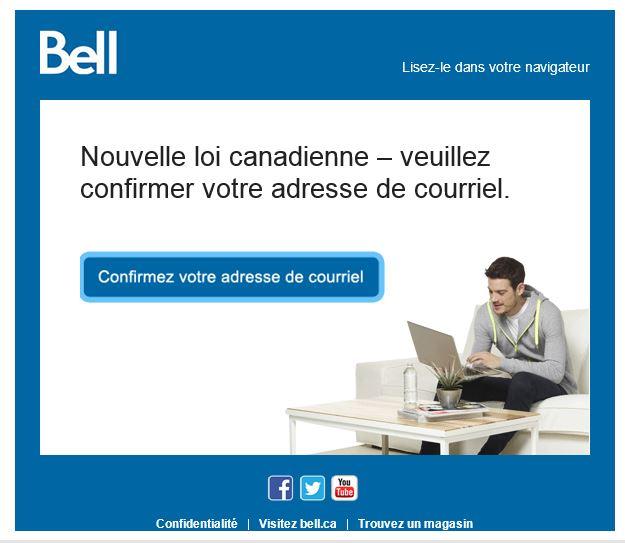 Demande de consentement express de Bell