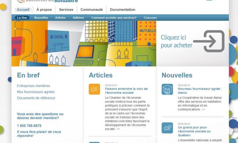 Page d'accueil du site de Commerce Solidaire